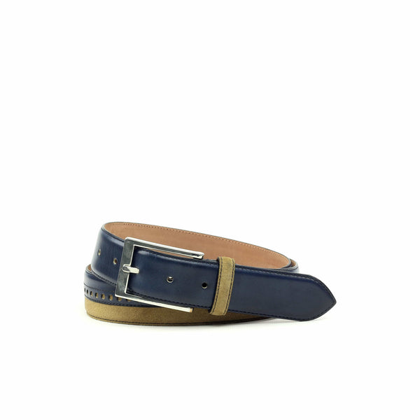 Belt - Lux Suede Camel Painted Navy Calf-Albert Couture