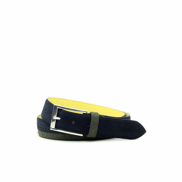 Belt - Lux Suede Navy Flannel Green-Albert Couture