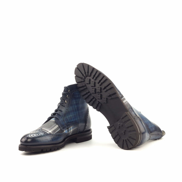 Military Boots - Patina Heavy Denim Wool Plaid Grey-Albert Couture