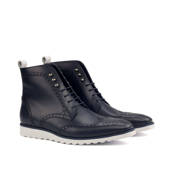 Military Boots - Box Calf Navy and white-Albert Couture