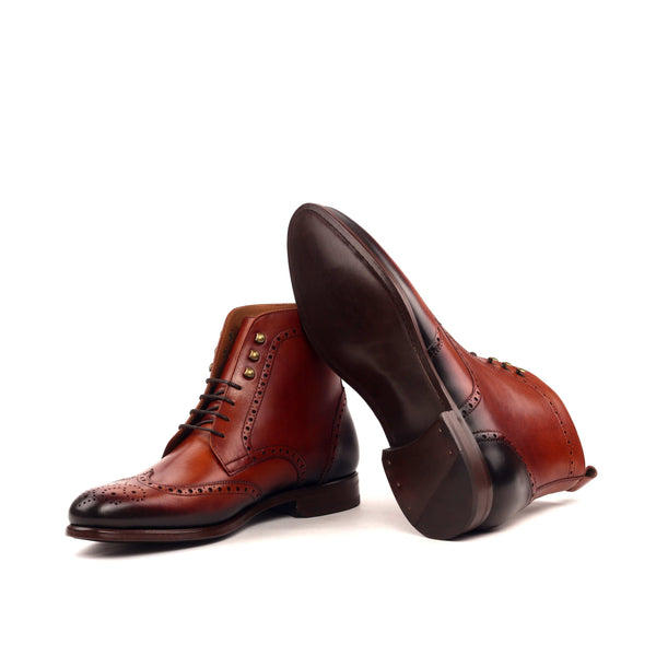 Military Boots - Light Burnishing Painted Calf Cognac-Albert Couture