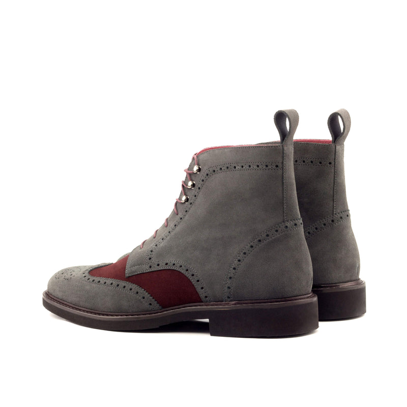 Military Boots - Lux Suede Grey and Burgundy-Albert Couture