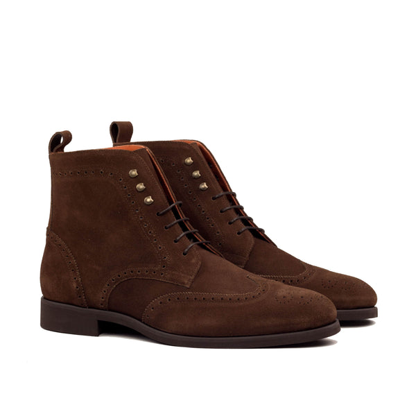 Military Boots - Lux Suede Med Brown-Albert Couture