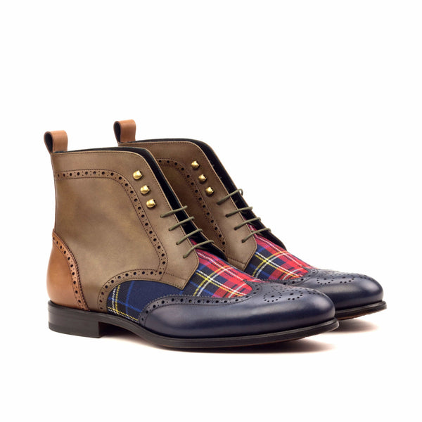 Military Boots - Painted Brown Olive Med Brown Tartan Red-Albert Couture