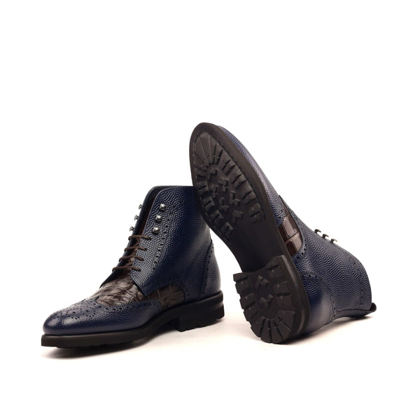 Military Boots - Painted Pebble Grain Navy Croco Brown-Albert Couture