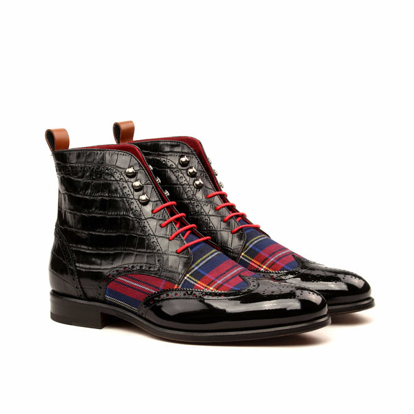 Military Boots - Patent Black Croco Tartan Red-Albert Couture