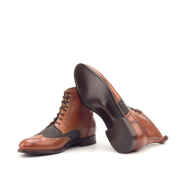 Military Boots - polished Calf Cognac Nailhead Black-Albert Couture