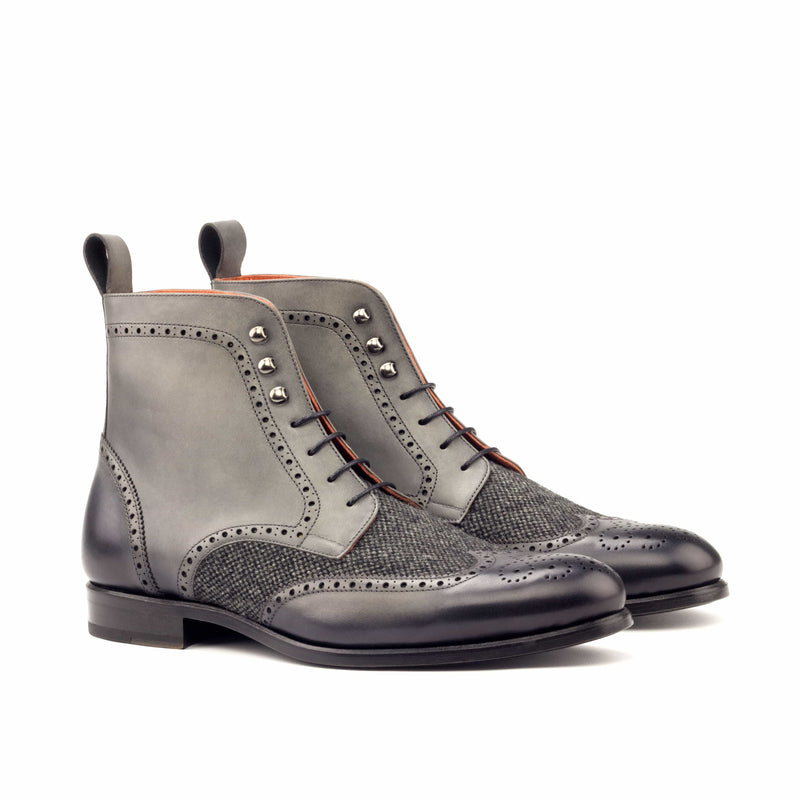 Military Boots - Burnishing Painted Dark Grey and Nailhead black-Albert Couture