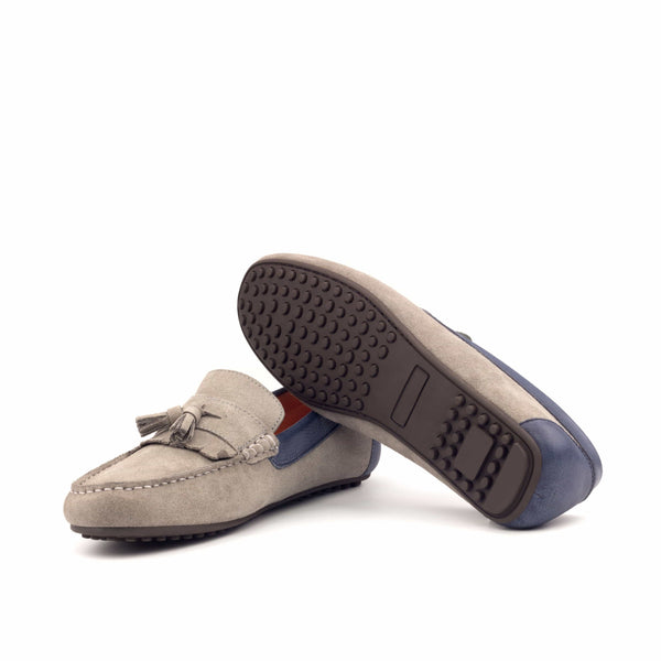 Moccasin - Grey Sport Suede Pebble Grain Navy-Albert Couture