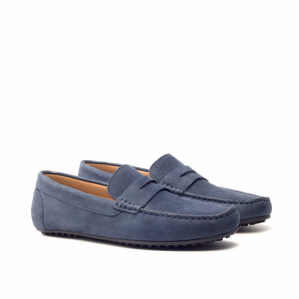Moccasin - Navy Nukbuck Black Sole-Albert Couture