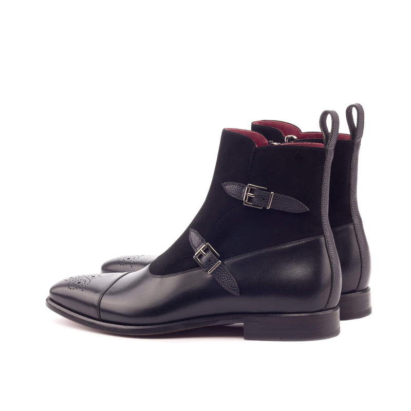 Octavian Boots - Kid Suede Black Painted Pebble Grain Black and Painted Calf Black-Albert Couture