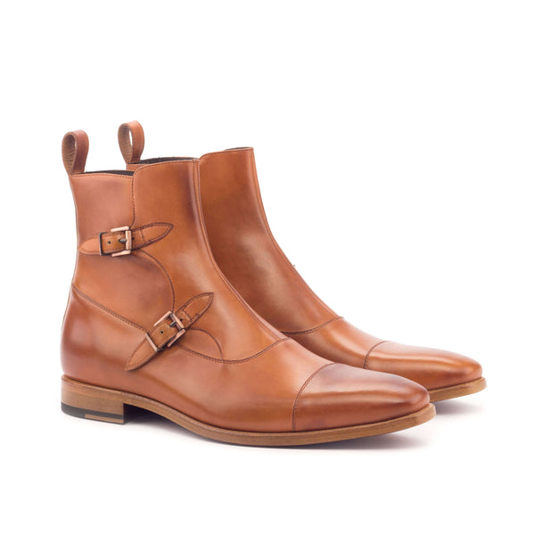 Octavian Boots - Painted Calf Cognac Copper Metal-Albert Couture