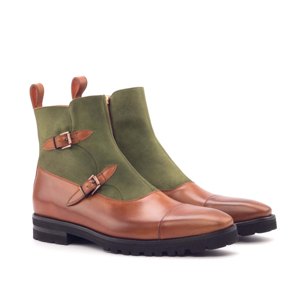 Octavian Boots - Kid Suede Khaki Painted Calf Cognac-Albert Couture