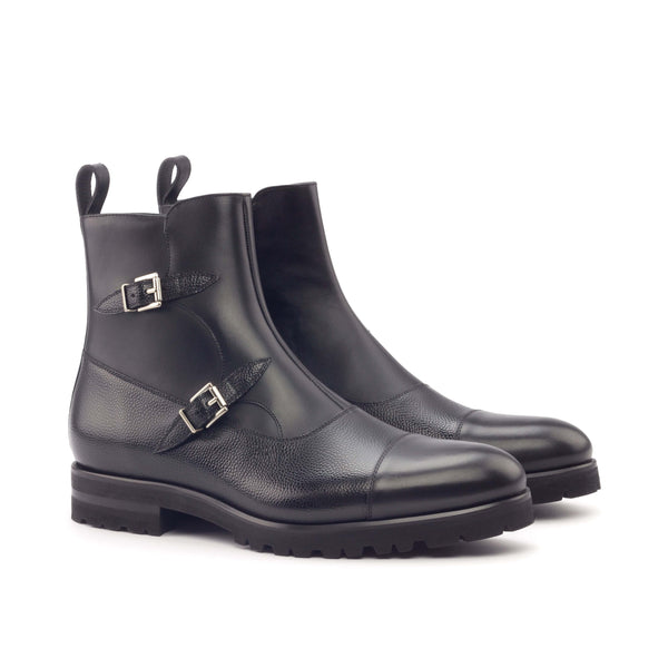 Octavian Boots - Painted Calf Black Painted Pebble Grain Black-Albert Couture