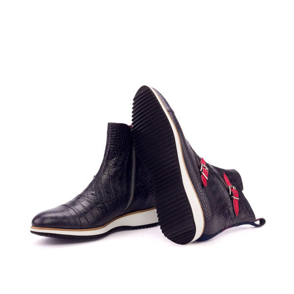 Octavian Boots - Black Crocco Tartan Red Kid Suede Red-Albert Couture
