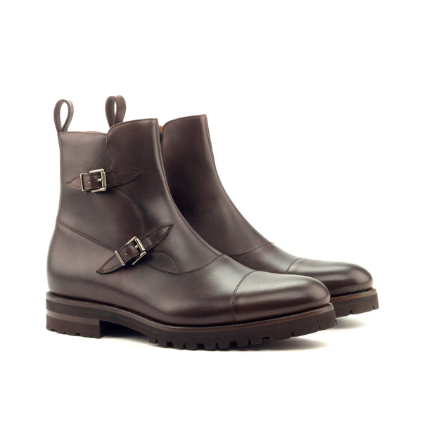 Octavian Boots - Painted Calf Dark Brown Commando Sole-Albert Couture