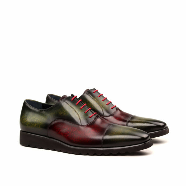 Oxford - Med Patina Burgundy and Khaki Wedge Sole Black-Albert Couture