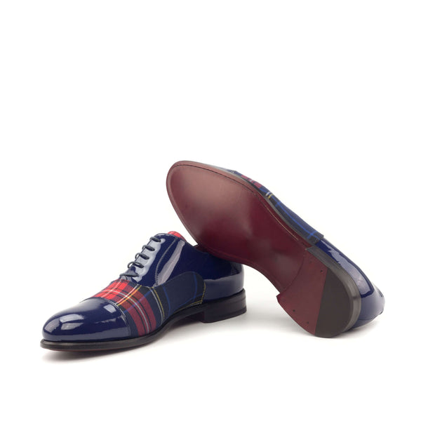 Oxford - Patent Cobalt Blue Tartan Red-Albert Couture