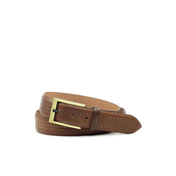Belt - Calf Cognac Painted Calf Dark Brown-Albert Couture
