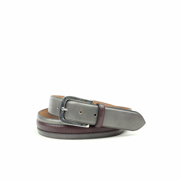 Belt - Calf Grey Painted Calf Burgundy-Albert Couture