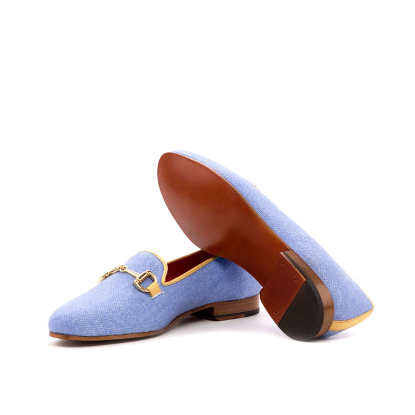 Rose Slippers - Blue Linen - Grosgrain Gold Buckle