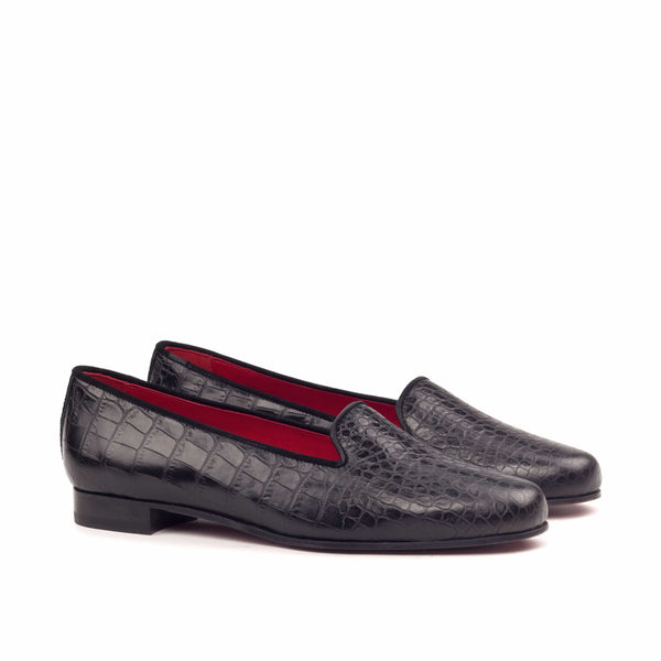 Rose Slippers - Croco Black Suede