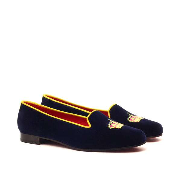 Rose  Slippers - Navy Velvet Mustard Suede