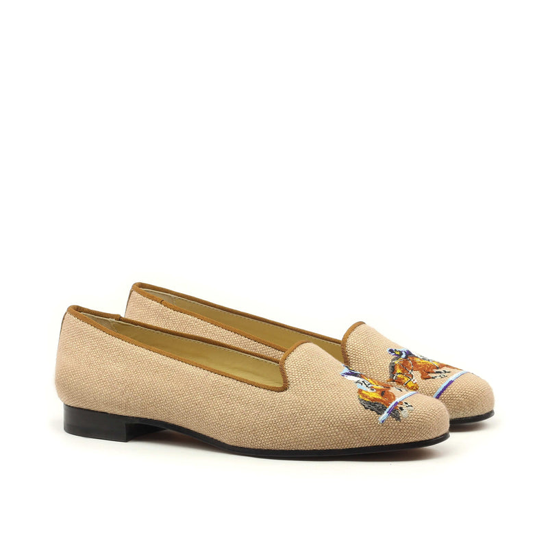Rose Slippers - Tan Linen Horse