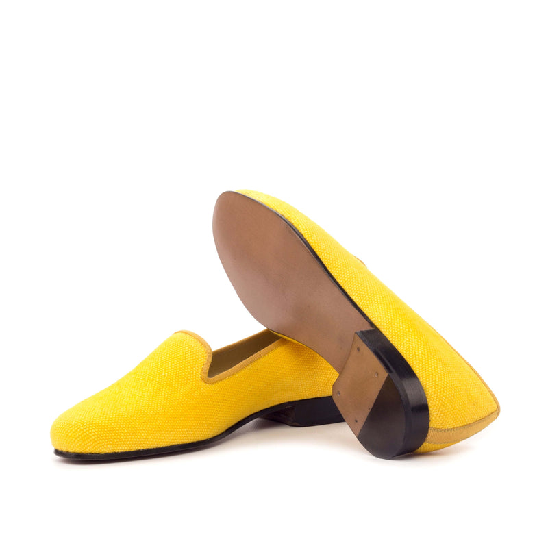 Rose Slippers - Mustard Linen - Grosgrain Gold