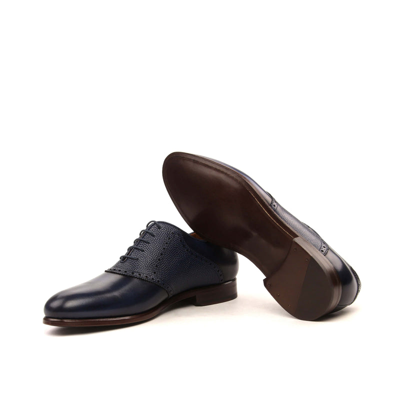 Saddle - Painted Calf Navy Painted Pebble Grain Navy-Albert Couture