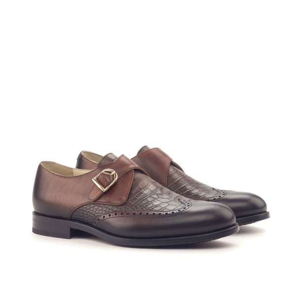 Single Monk - Painted Calf Med Brown Faux Croco Brown-Albert Couture