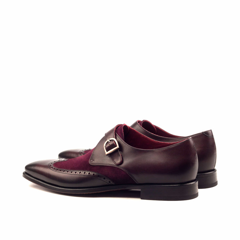 Single Monk - Burnishing Painted Calf Burgundy Kid Suede Wine-Albert Couture