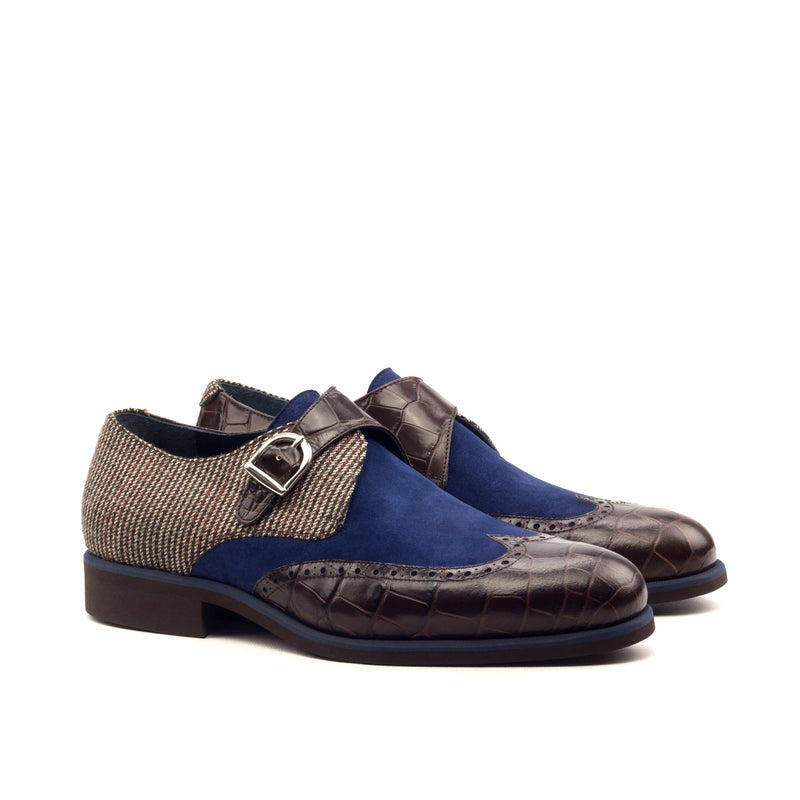 Single Monk - Croco Brown Kid Suede Navy Wool Small Tweed Brown-Albert Couture