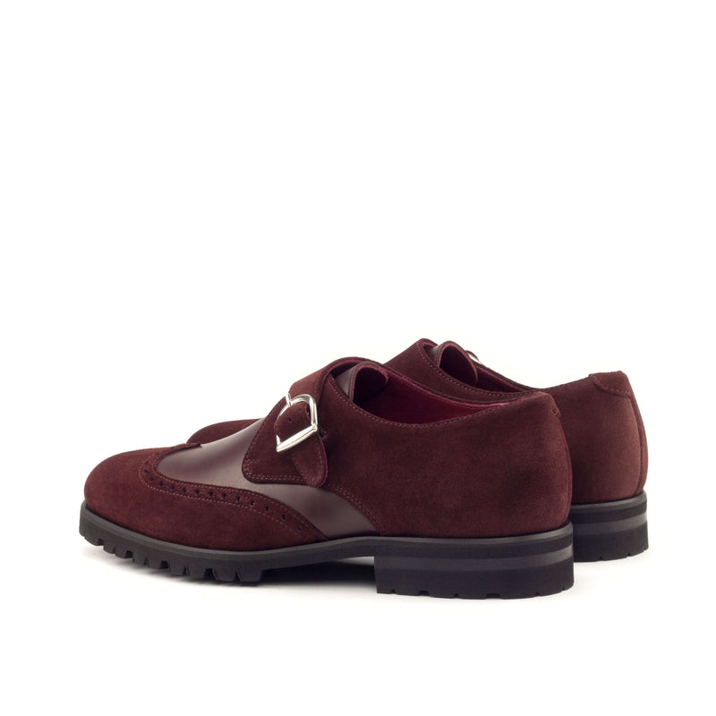 Single Monk - Lux Suede Burgundy and Polished Calf Burgundy-Albert Couture
