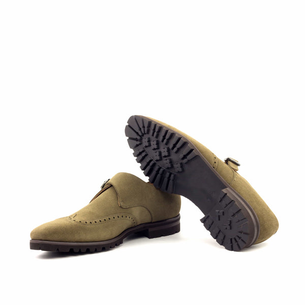 Single Monk - Lux Suede Khaki Graphite Metal-Albert Couture