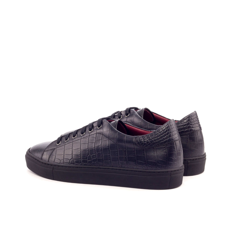 Trainers - Croco Black - Painted Calf Red.