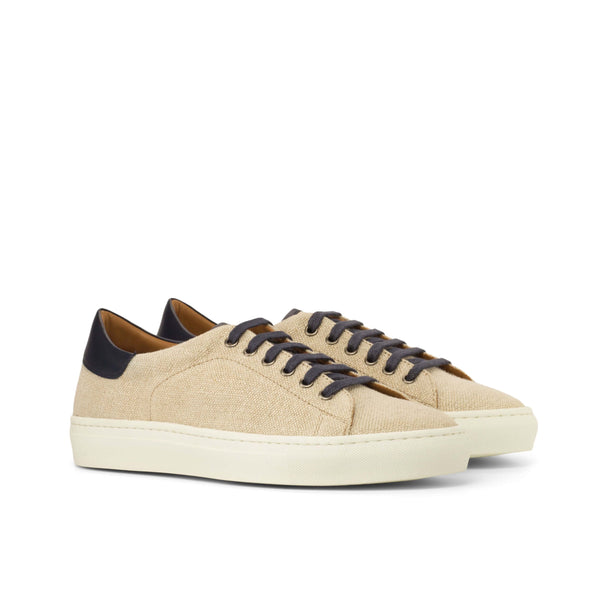 Trainers - Box Calf Navy with Ice Linen