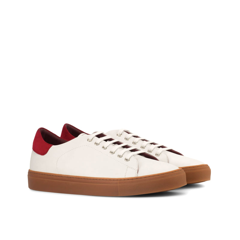 Trainer Sneaker - Box Calf White Kid Suede Red