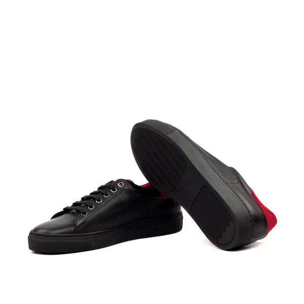 Trainer Sneaker - Painted Full Grain Black Sport Suede Red