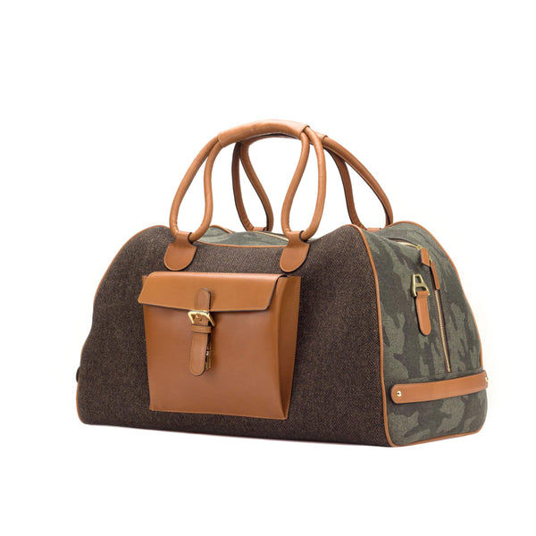 Travel Duffle Bag - Herringbone Brown-Camo Flannel-Painted calf Cognac