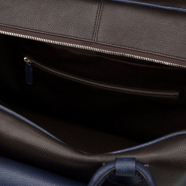 Travel Duffle Bag - Painted Full Grain Dark Brown and Navy