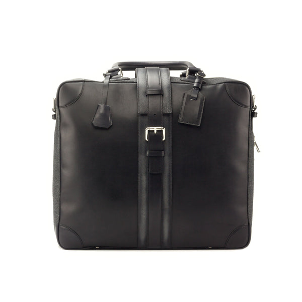 Travel Tote - Painted Calf Black - Painted Full Grain Grey - Flannel Dark Grey