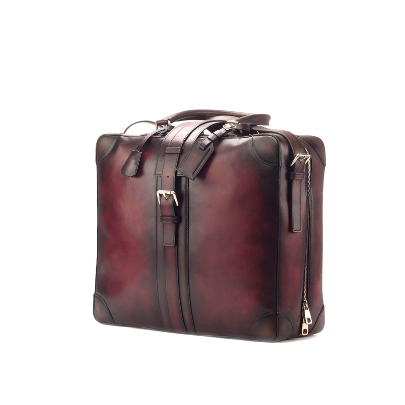 Travel Tote - Painted Calf Burgundy - Painted Calf Dark Brown