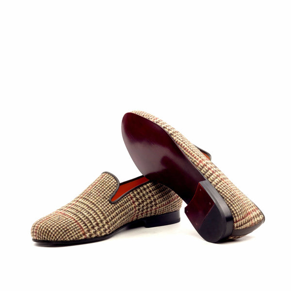 Slippers - Wool Tweed Brown-Albert Couture