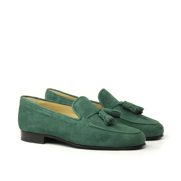 Slippers - Dark Green Kid Suede-Albert Couture