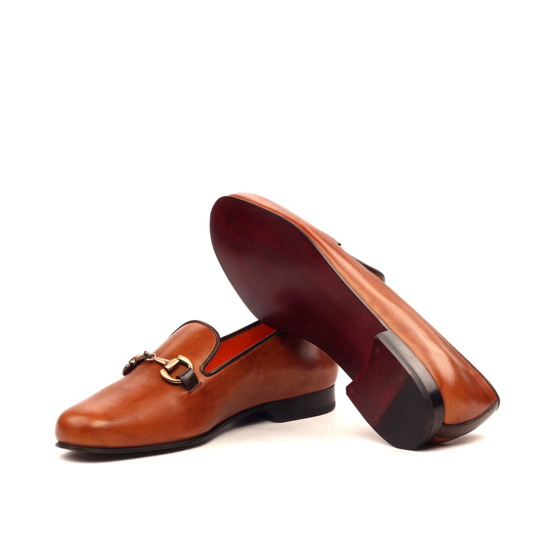 Slippers - Painted Calf Cognac and Copper Metal-Albert Couture