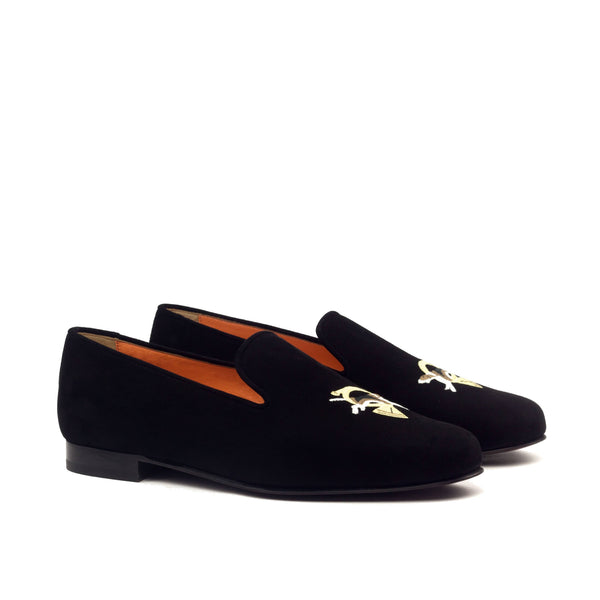 Slippers - Black Suede Burgundy Sole-Albert Couture