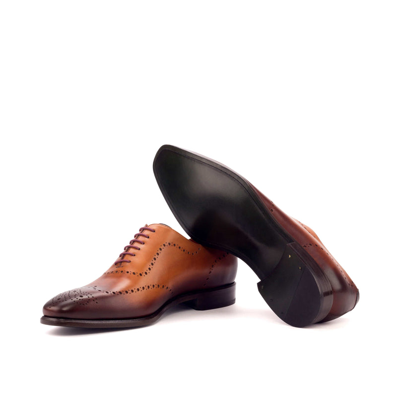 Whole Cut - Dark Burnishing Painted Calf Cognac and Dark Brown-Albert Couture