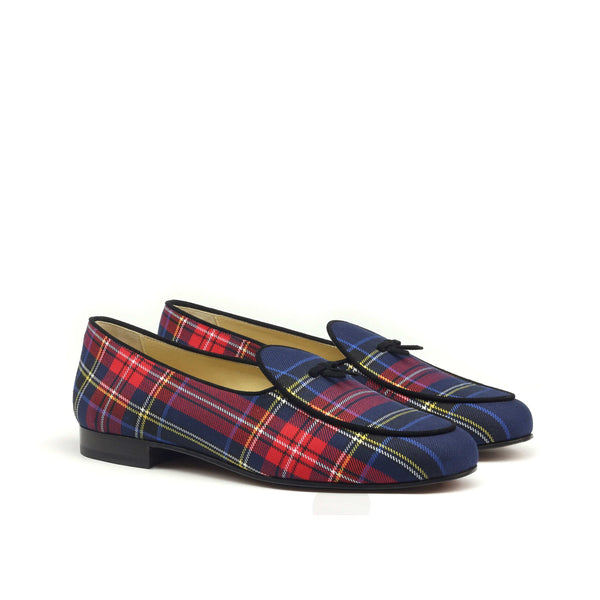 Slippers - Tartan Navy Red-Albert Couture