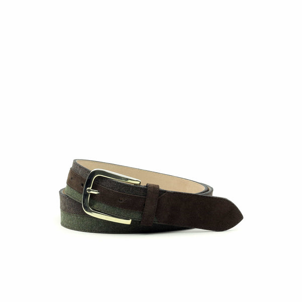 Belt - Franela Marron Flannel Green Lux Suede Dark Brown-Albert Couture